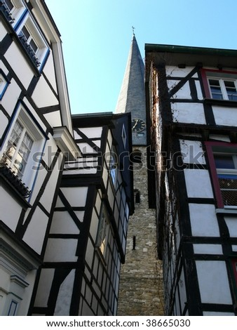 Medieval half-timbered buildings in the German town of Hattingen