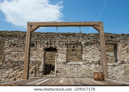 Medieval hanging made of wood.  - stock photo