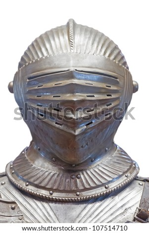 Medieval Helmet and armor isolated on white - stock photo