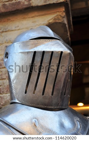 Medieval helmet of a knight armor - stock photo