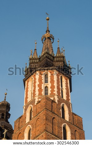 Medieval helmet of the taller tower (Hejnalica) of the St Mary's (Mariacki) church in Krakow, Poland.