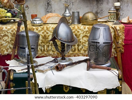 Medieval Helmets and Other Objects at a Historical Reenactment