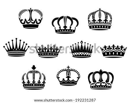 Medieval heraldic crowns logo set for design and ornate. Vector version also available in gallery