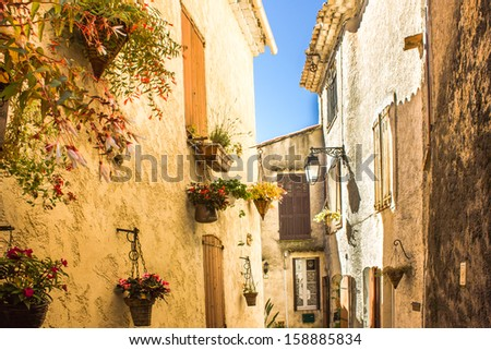 Medieval houses in Mediterranean France - stock photo