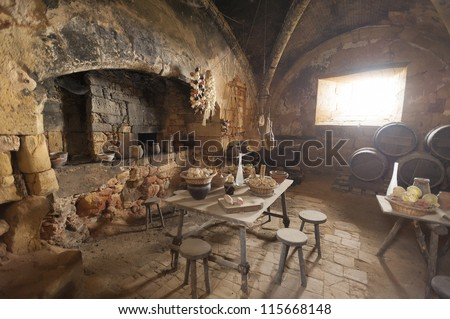 Medieval kitchen in old castle in France - stock photo