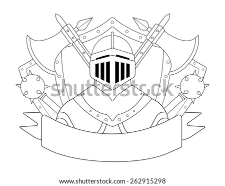 Medieval knight logo. Helmet, armor, mace, ax, shield, sign. Raster contour lines clip art illustration isolated on white - stock photo