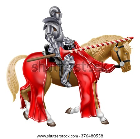 Medieval knight on a horse holding a lance reay for a joust