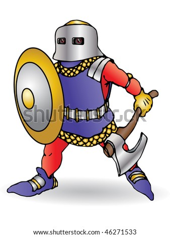 Medieval knight ready to the field battle with an axe  and shield - stock photo