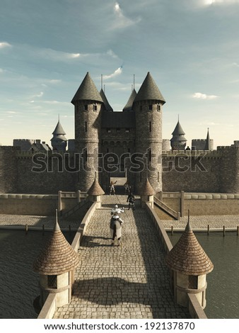 Medieval knight riding to the castle gate, 3d digitally rendered illustration - stock photo