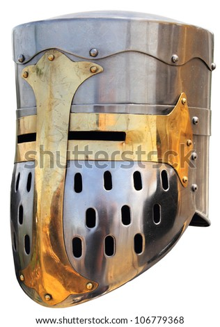 Medieval knight's helmet on a white background - stock photo