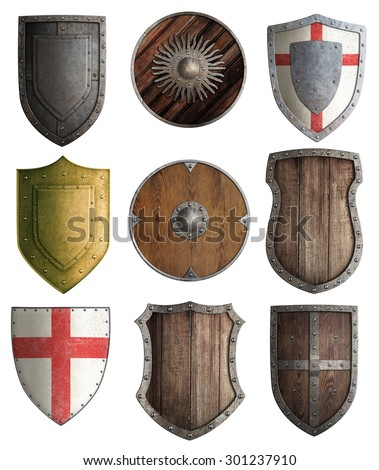medieval knight shields set isolated - stock photo