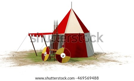 medieval knight tent and weapons isolated on white - 3d render