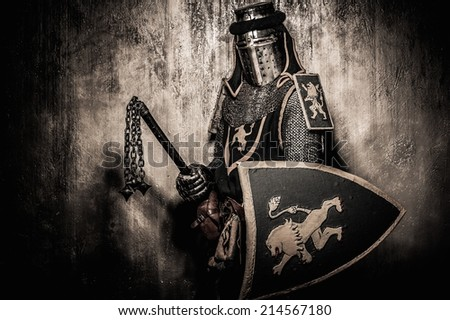 Medieval knight with weapon - stock photo