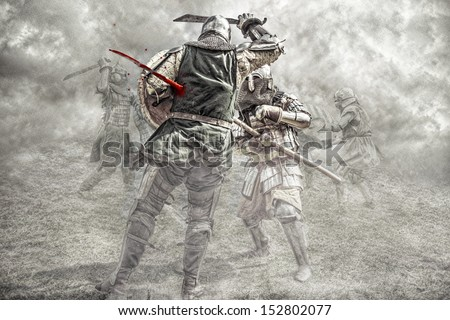 Medieval knights fighting in a battle