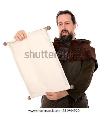 medieval man holding a scroll, isolated on white - stock photo