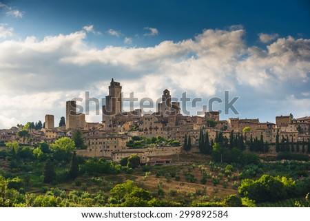 Medieval Manhattan of Tuscany, San Gimignano in Italy - stock photo