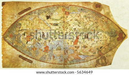Medieval map of the world drown before Columbus' journey. Photo from old reproduction