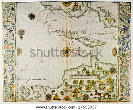 Medieval map showing part of America and West Indies. Photo from old reproduction - stock photo
