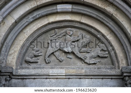 medieval marble bas relief close up detail - stock photo