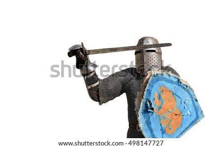 medieval metal armor and helmet warrior isolated over white