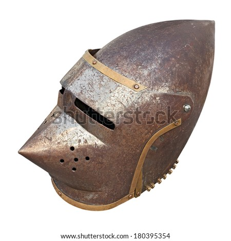 medieval military helmet - old part of armor with rust, isolated
