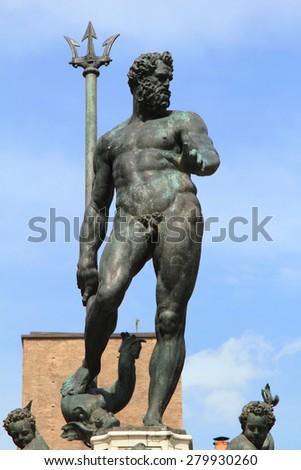 medieval Neptune statue at Piazza Maggiore, unesco world heritage in Bologna, Italy - stock photo