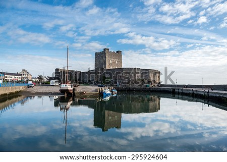 Medieval Norman Castle in Carrickfergus, Belfast, Northern Ireland - stock photo
