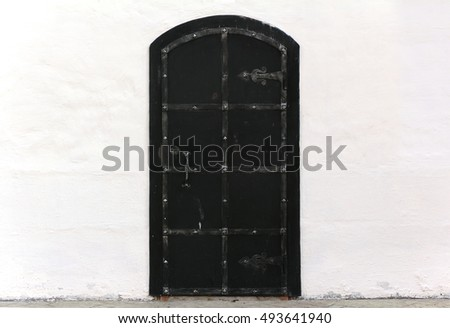 Medieval old black door with metal decoration on white wall. Black Door Stock Photos  Royalty Free Images  amp  Vectors   Shutterstock