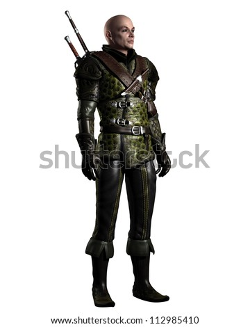 Medieval or historical style battle scarred ranger in leather armour with two swords on a grey background, 3d digitally rendered illustration - stock photo