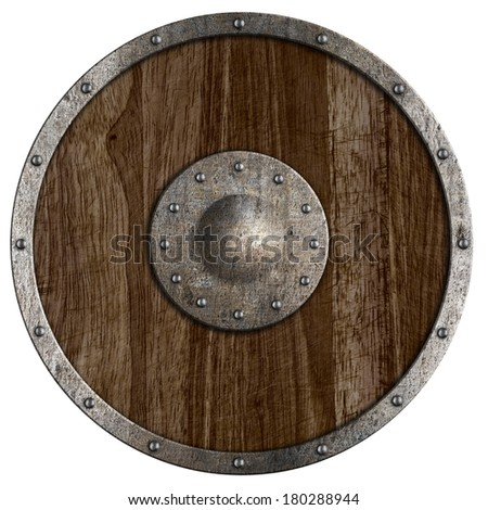 Medieval or vikings' wooden shield isolated on white - stock photo