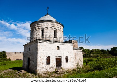 Medieval orthodoxy church in Ivangorod fortress in summer day - stock photo