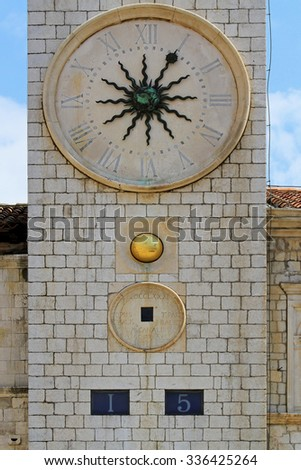 Medieval Public Clock at Tower in Dubrovnik - stock photo