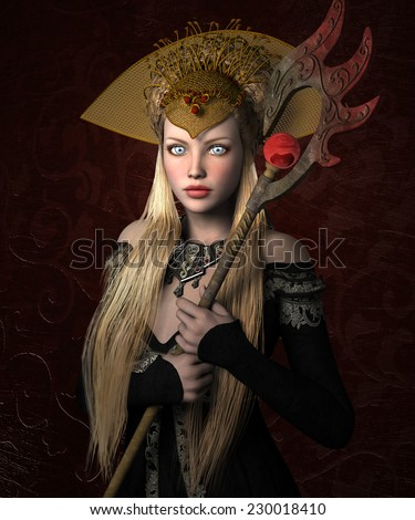 Medieval queen - stock photo
