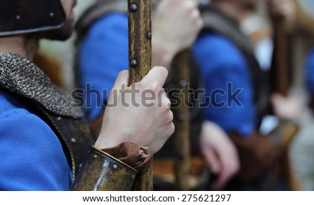 medieval reenactment with costumed characters and ancient clothes