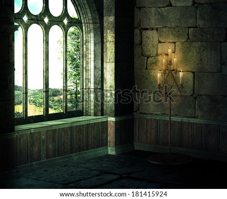Medieval Room Background - stock photo