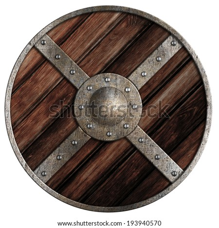 Medieval round wooden shield of vikings isolated on white - stock photo