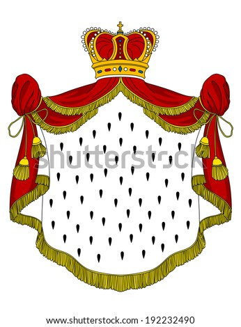 Medieval royal mantle with crown for heraldry design. Vector version also available in gallery - stock photo