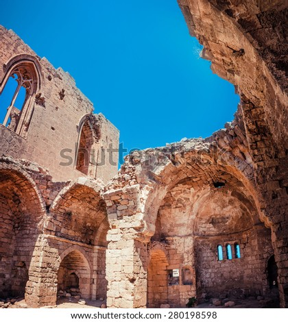 Medieval Ruins of the St. George of the Greeks Church. Famagusta, Cyprus. - stock photo