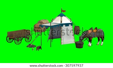 medieval scene with horse - green screen effect