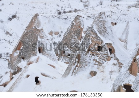 Medieval settlements carved in rocks of Cappadocia.
