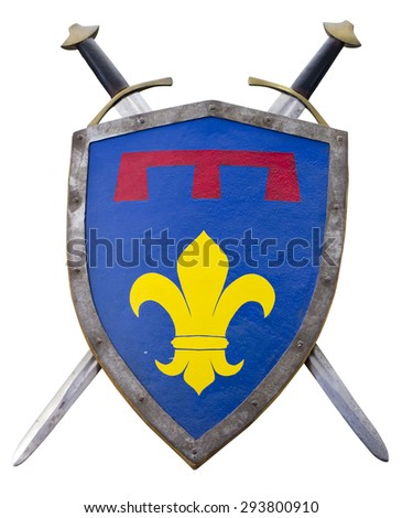 Medieval shield and sword isolated on white background with Clipping Path - stock photo