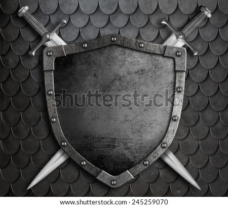 medieval shield with two crossed swords over scales armour background - stock photo