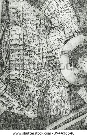 Medieval shields and helm - Old drawing, digital art work - stock photo