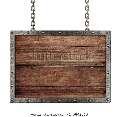 medieval sign with chains isolated on white - stock photo