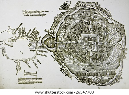 Medieval spanish map of Mexico City and gulf coast. Photo from old reproduction - stock photo