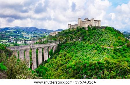 medieval Spoleto in Umbria, Italy  - stock photo