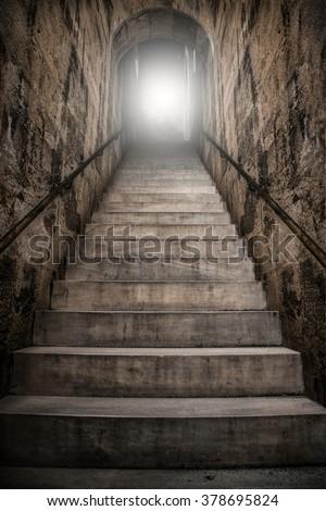 medieval staircase - stock photo