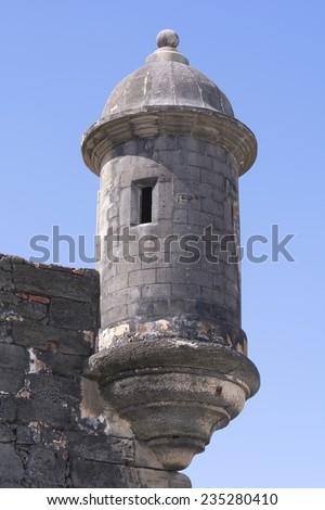 Medieval stone bartizan or garita on corner of Castillo de San Cristobal overlooking the Atlantic Ocean in Old San Juan, Puerto Rico - stock photo