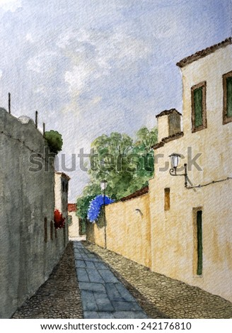 Medieval Street In Alentejo, Portugal. Watercolor Cityscape Painting. - stock photo