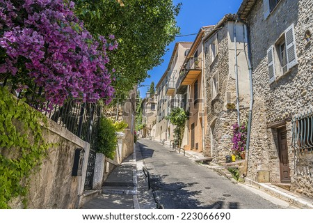 Medieval Street in Cagnes-sur-Mer. Cagnes-sur-Mer - commune of Alpes-Maritimes department in Provence Alpes - Cote d'Azur region, France. Cagnes-sur-Mer located between Nice and Cannes. - stock photo